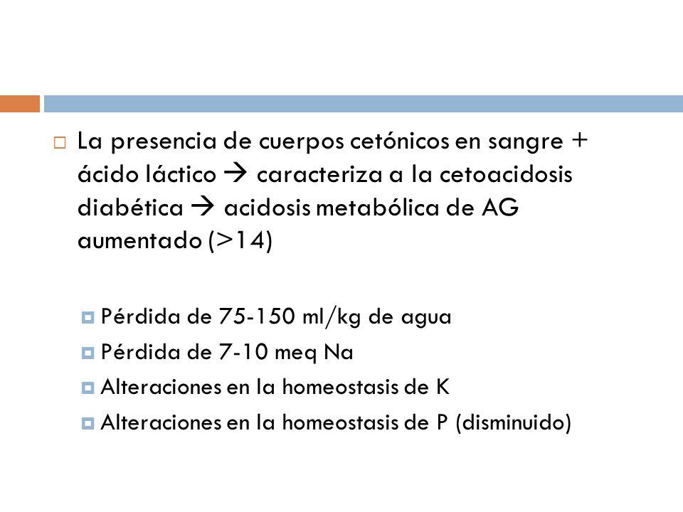 La presencia de cuerpos cetónicos en sangre + ácido láctico caracteriza a la cetoacidosis diabética acidosis metabólica de AG aumentado (>14) Pérdida