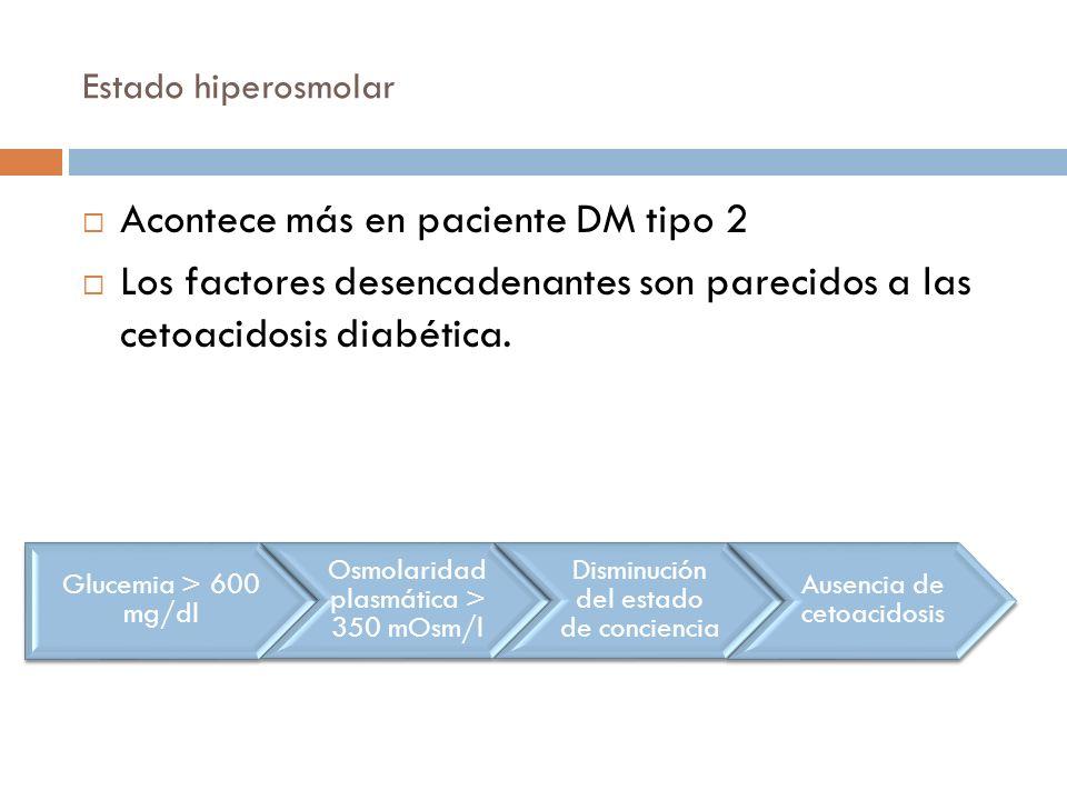Estado hiperosmolar Acontece más en paciente DM tipo 2 Los factores desencadenantes son parecidos a las cetoacidosis diabética. Glucemia > 600 mg/dl O