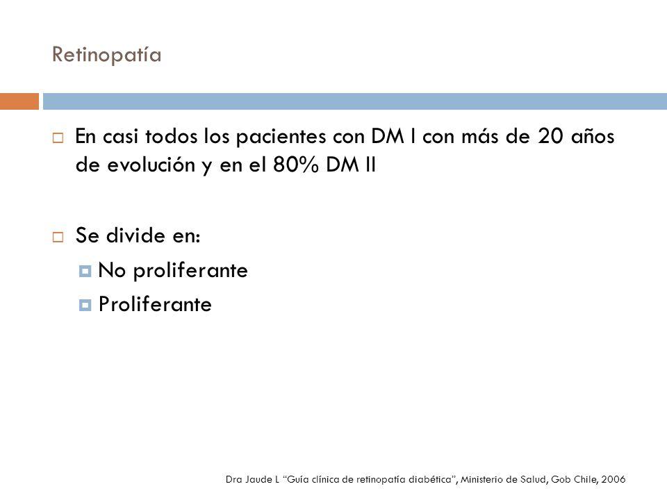 Retinopatía En casi todos los pacientes con DM I con más de 20 años de evolución y en el 80% DM II Se divide en: No proliferante Proliferante Dra Jaud