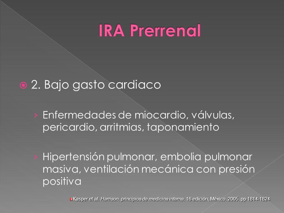 2. Bajo gasto cardiaco Enfermedades de miocardio, válvulas, pericardio, arritmias, taponamiento Hipertensión pulmonar, embolia pulmonar masiva, ventil