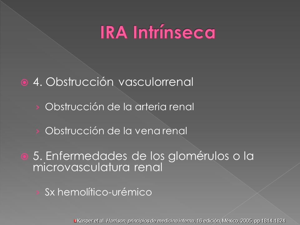 4. Obstrucción vasculorrenal Obstrucción de la arteria renal Obstrucción de la vena renal 5. Enfermedades de los glomérulos o la microvasculatura rena