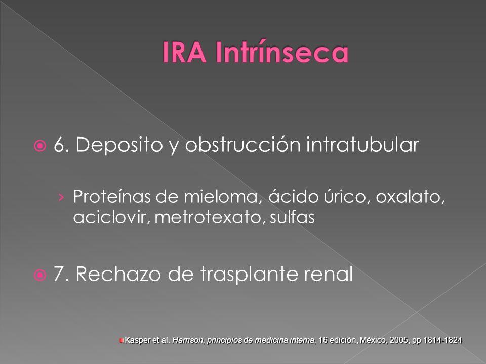 6. Deposito y obstrucción intratubular Proteínas de mieloma, ácido úrico, oxalato, aciclovir, metrotexato, sulfas 7. Rechazo de trasplante renal Kaspe