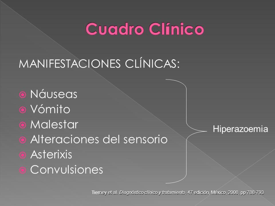 MANIFESTACIONES CLÍNICAS: Náuseas Vómito Malestar Alteraciones del sensorio Asterixis Convulsiones Hiperazoemia ney et al. Diagnóstico clínico y trata