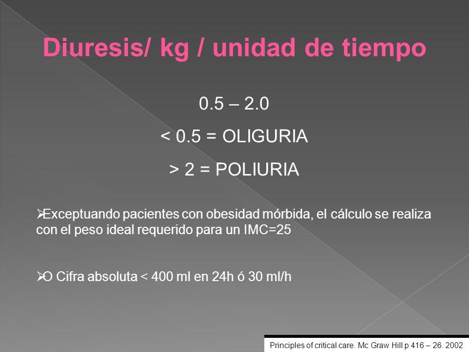 Diuresis/ kg / unidad de tiempo 0.5 – 2.0 < 0.5 = OLIGURIA > 2 = POLIURIA Exceptuando pacientes con obesidad mórbida, el cálculo se realiza con el pes