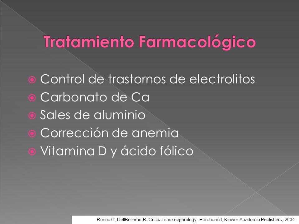 Control de trastornos de electrolitos Carbonato de Ca Sales de aluminio Corrección de anemia Vitamina D y ácido fólico Ronco C, DellBellomo R. Critica