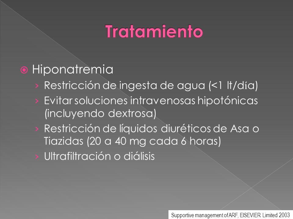 Hiponatremia Restricción de ingesta de agua (<1 lt/d í a) Evitar soluciones intravenosas hipotónicas (incluyendo dextrosa) Restricción de líquidos diu