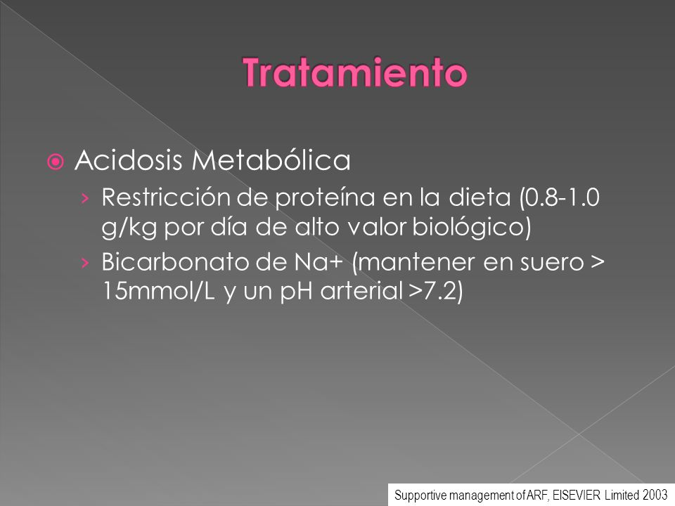 Acidosis Metabólica Restricción de proteína en la dieta (0.8-1.0 g/kg por día de alto valor biológico) Bicarbonato de Na+ (mantener en suero > 15mmol/
