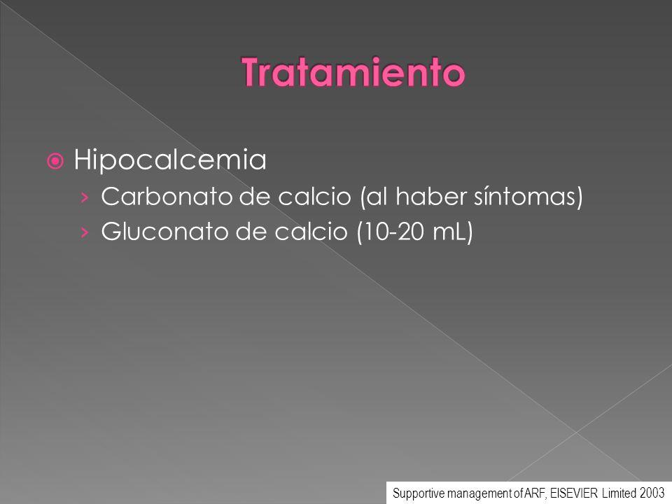 Hipocalcemia Carbonato de calcio (al haber síntomas) Gluconato de calcio (10-20 mL) Supportive management of ARF, ElSEVIER Limited 2003