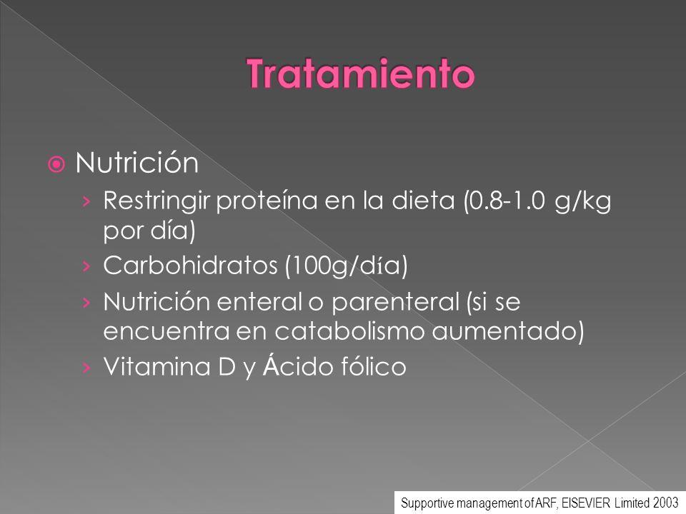 Nutrición Restringir proteína en la dieta (0.8-1.0 g/kg por día) Carbohidratos (100g/d í a) Nutrición enteral o parenteral (si se encuentra en catabol