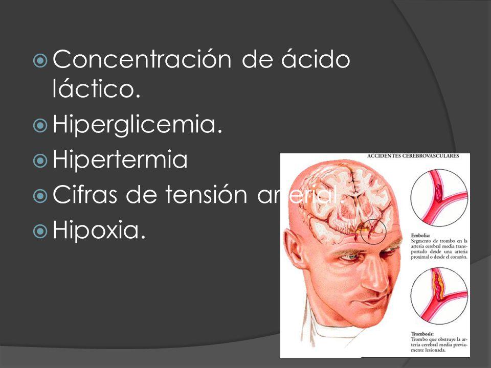 Concentración de ácido láctico. Hiperglicemia. Hipertermia Cifras de tensión arterial. Hipoxia.
