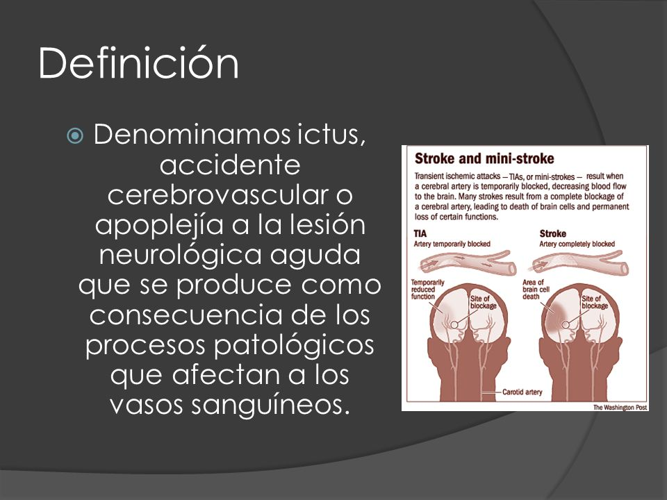 Definición Denominamos ictus, accidente cerebrovascular o apoplejía a la lesión neurológica aguda que se produce como consecuencia de los procesos pat