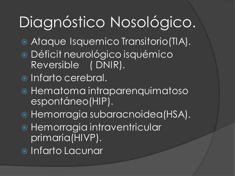 Diagnóstico Nosológico. Ataque Isquemico Transitorio(TIA). Déficit neurológico isquémico Reversible ( DNIR). Infarto cerebral. Hematoma intraparenquim