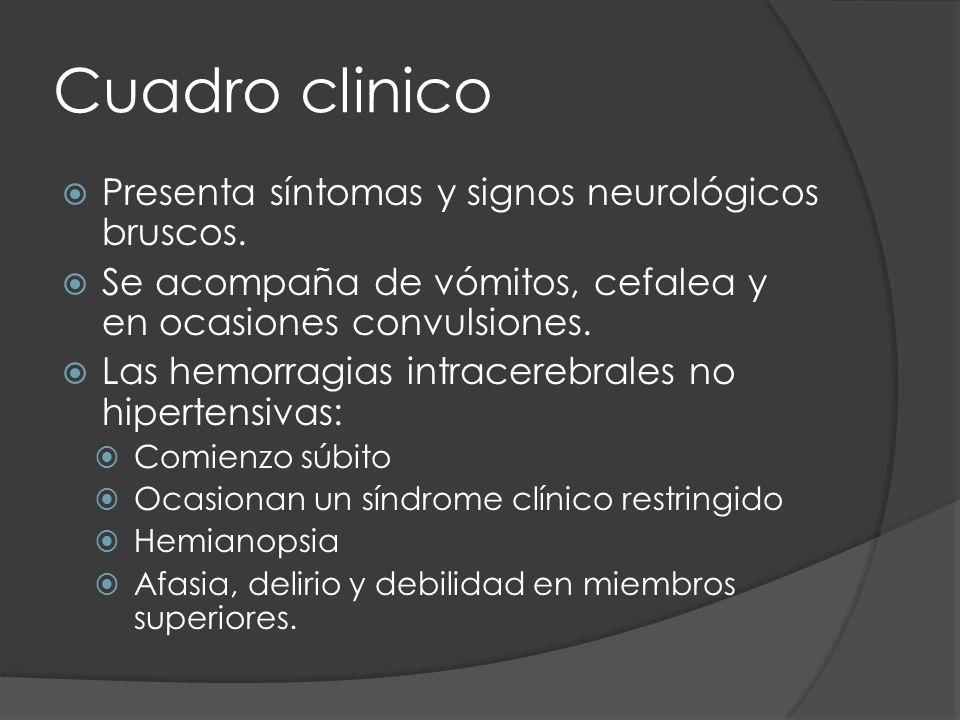 Cuadro clinico Presenta síntomas y signos neurológicos bruscos. Se acompaña de vómitos, cefalea y en ocasiones convulsiones. Las hemorragias intracere