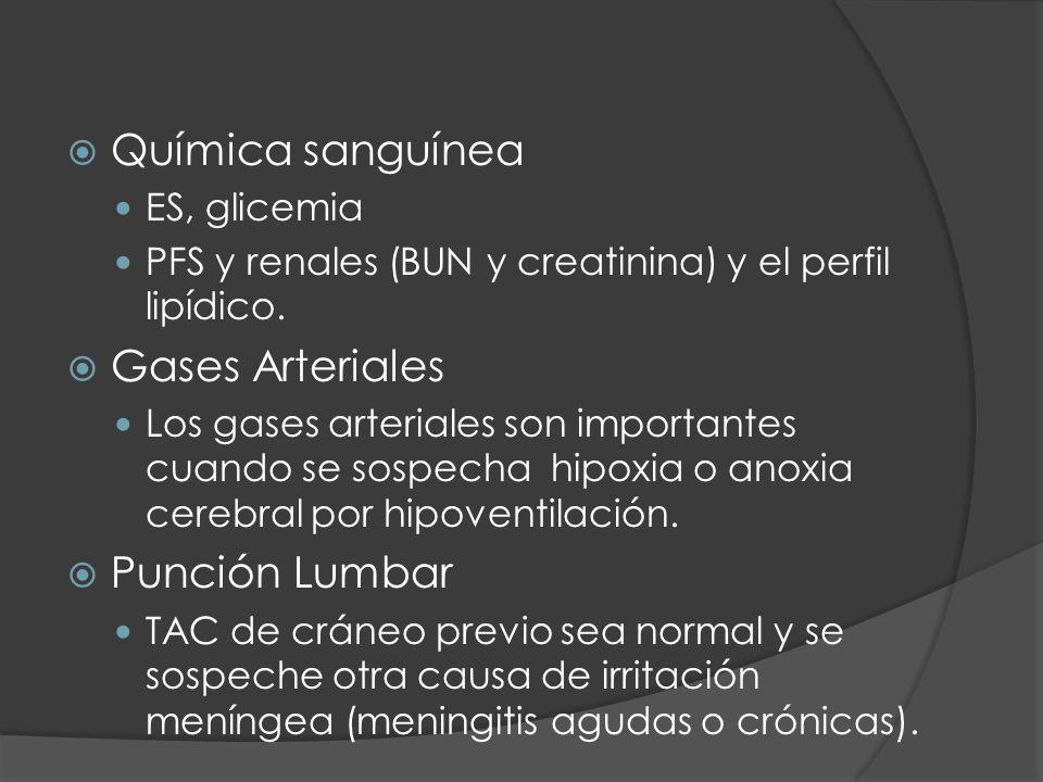 Química sanguínea ES, glicemia PFS y renales (BUN y creatinina) y el perfil lipídico. Gases Arteriales Los gases arteriales son importantes cuando se