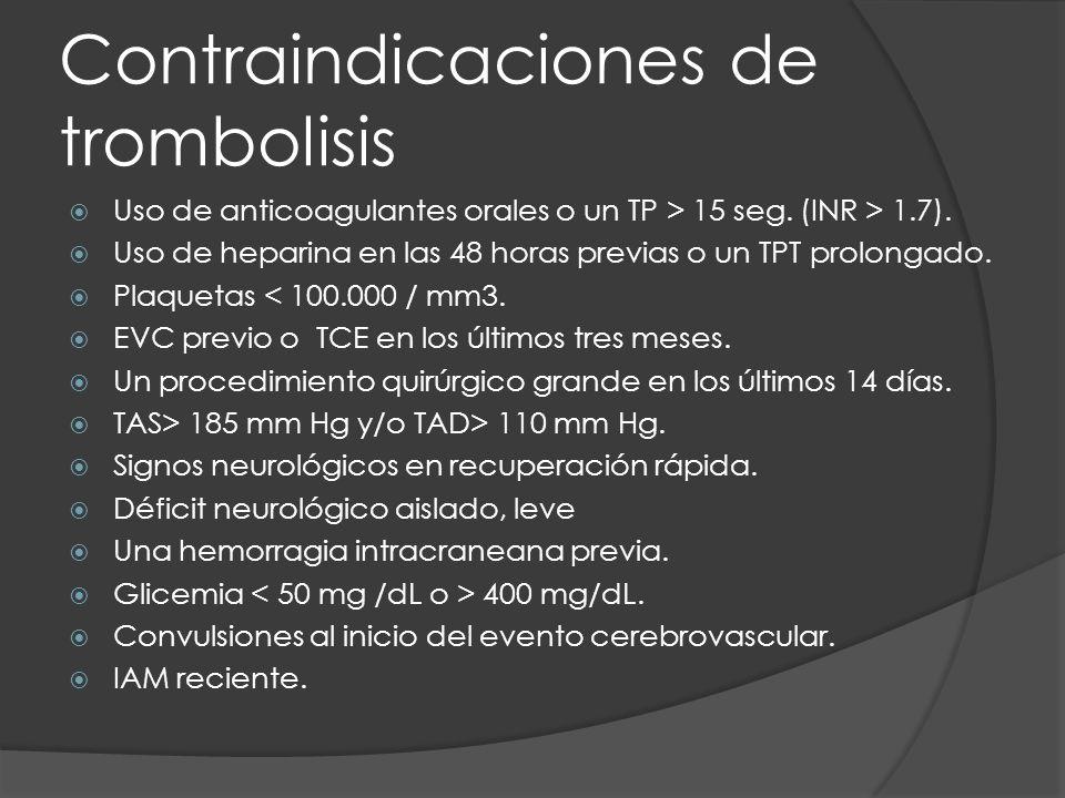 Contraindicaciones de trombolisis Uso de anticoagulantes orales o un TP > 15 seg. (INR > 1.7). Uso de heparina en las 48 horas previas o un TPT prolon
