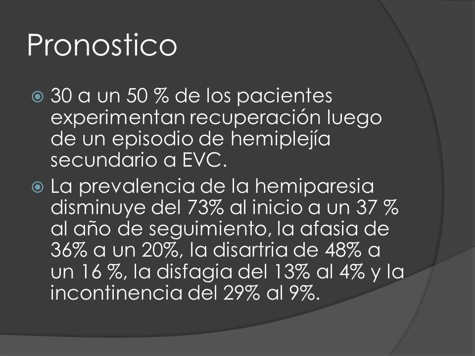 Pronostico 30 a un 50 % de los pacientes experimentan recuperación luego de un episodio de hemiplejía secundario a EVC. La prevalencia de la hemipares