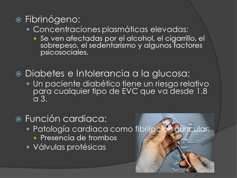 Fibrinógeno: Concentraciones plasmáticas elevadas: Se ven afectadas por el alcohol, el cigarrillo, el sobrepeso, el sedentarismo y algunos factores ps