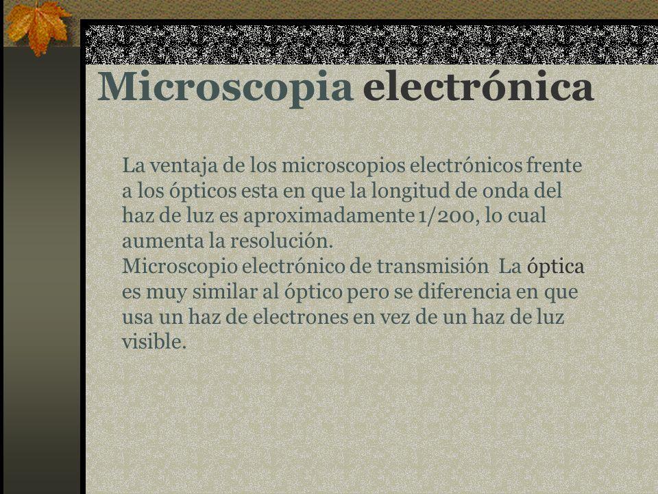 Microscopia electrónica La ventaja de los microscopios electrónicos frente a los ópticos esta en que la longitud de onda del haz de luz es aproximadam