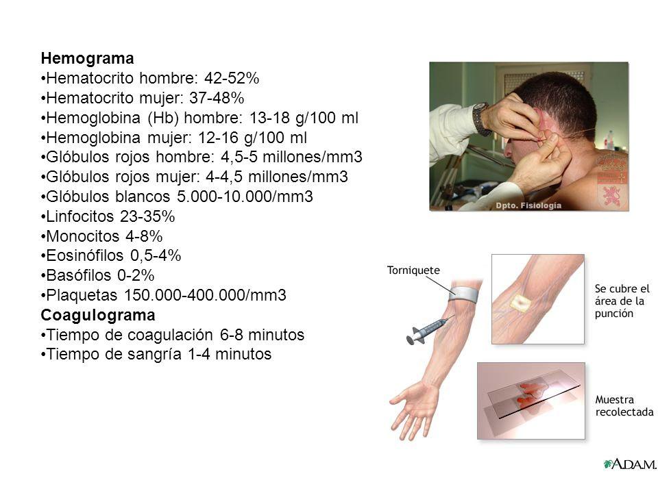Hemograma Hematocrito hombre: 42-52% Hematocrito mujer: 37-48% Hemoglobina (Hb) hombre: 13-18 g/100 ml Hemoglobina mujer: 12-16 g/100 ml Glóbulos rojo