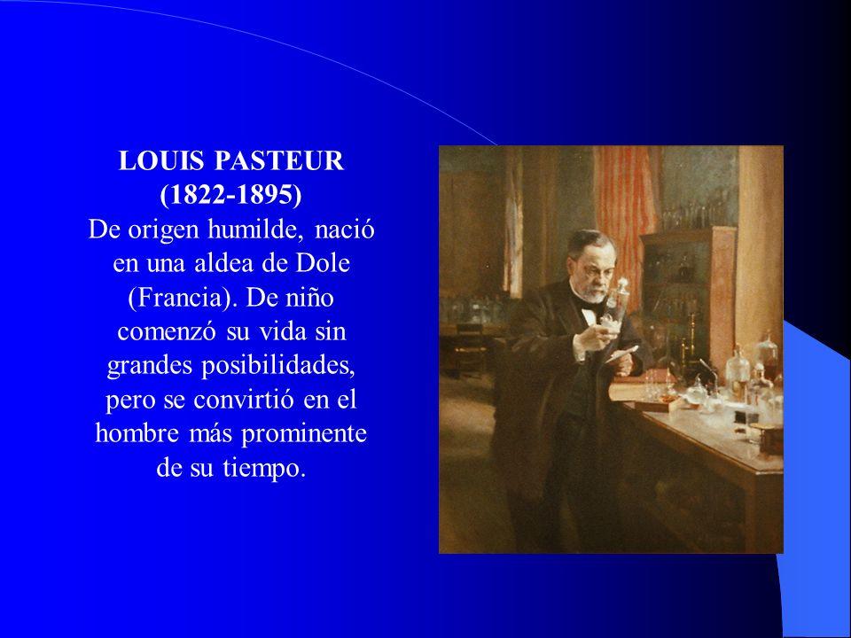LOUIS PASTEUR (1822-1895) De origen humilde, nació en una aldea de Dole (Francia). De niño comenzó su vida sin grandes posibilidades, pero se convirti