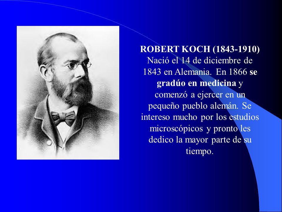 ROBERT KOCH (1843-1910) Nació el 14 de diciembre de 1843 en Alemania. En 1866 se gradúo en medicina y comenzó a ejercer en un pequeño pueblo alemán. S
