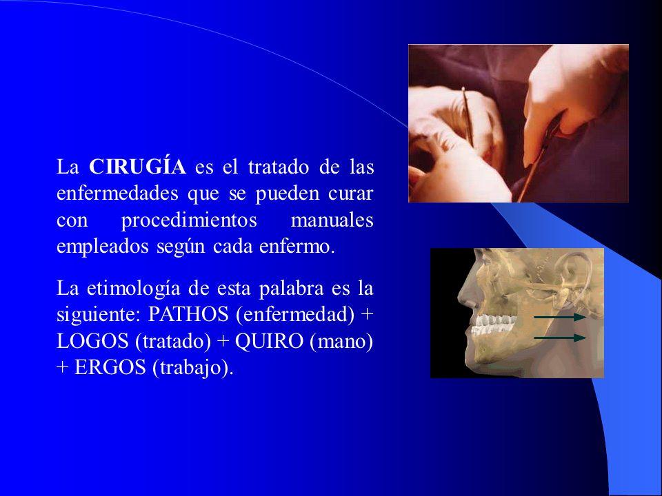 La CIRUGÍA es el tratado de las enfermedades que se pueden curar con procedimientos manuales empleados según cada enfermo. La etimología de esta palab