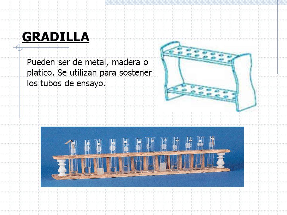 GRADILLA Pueden ser de metal, madera o platico. Se utilizan para sostener los tubos de ensayo.