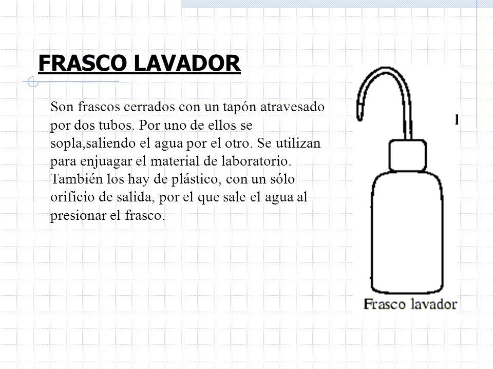 FRASCO LAVADOR Son frascos cerrados con un tapón atravesado por dos tubos. Por uno de ellos se sopla,saliendo el agua por el otro. Se utilizan para en