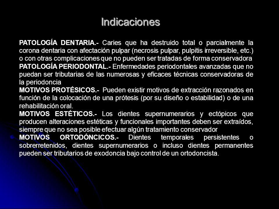 Indicaciones PATOLOGÍA DENTARIA.- Caries que ha destruido total o parcialmente la corona dentaria con afectación pulpar (necrosis pulpar, pulpitis irr