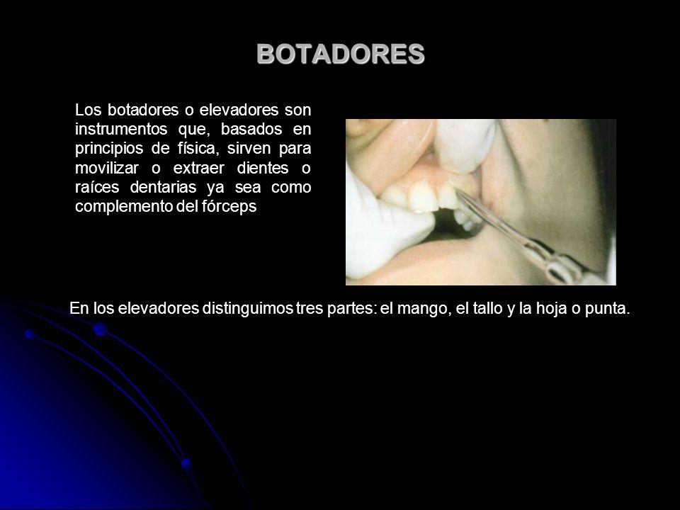 BOTADORES Los botadores o elevadores son instrumentos que, basados en principios de física, sirven para movilizar o extraer dientes o raíces dentarias