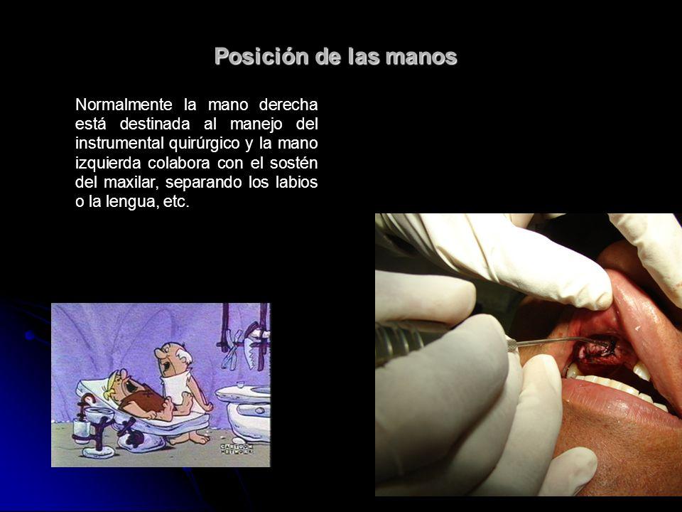 Posición de las manos Normalmente la mano derecha está destinada al manejo del instrumental quirúrgico y la mano izquierda colabora con el sostén del