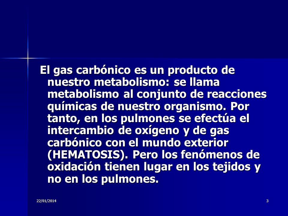 22/01/20143 El gas carbónico es un producto de nuestro metabolismo: se llama metabolismo al conjunto de reacciones químicas de nuestro organismo. Por