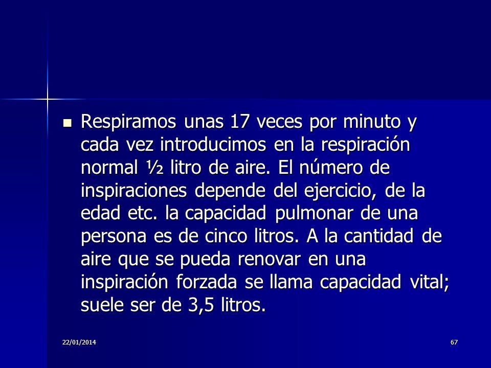22/01/201467 Respiramos unas 17 veces por minuto y cada vez introducimos en la respiración normal ½ litro de aire. El número de inspiraciones depende