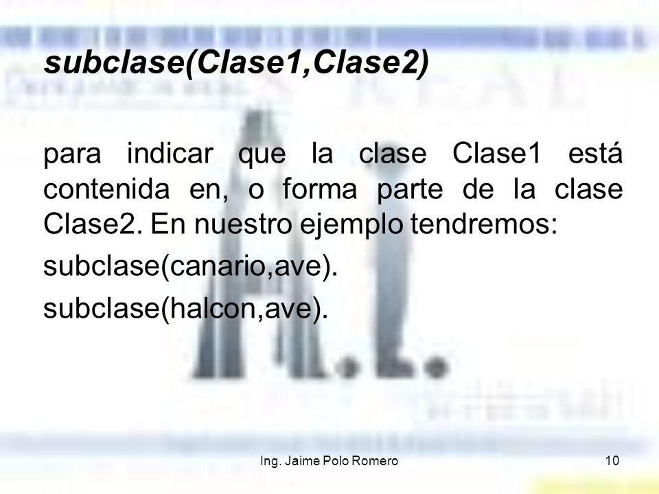 Ing. Jaime Polo Romero10 subclase(Clase1,Clase2) para indicar que la clase Clase1 está contenida en, o forma parte de la clase Clase2. En nuestro ejem
