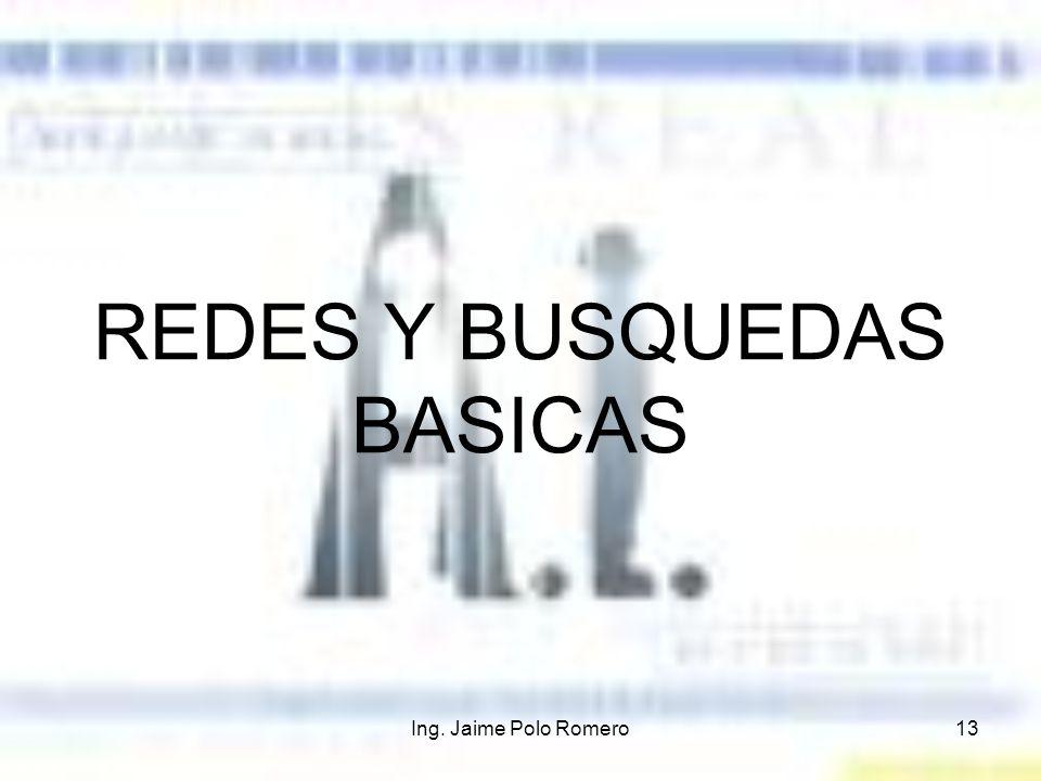 Ing. Jaime Polo Romero13 REDES Y BUSQUEDAS BASICAS