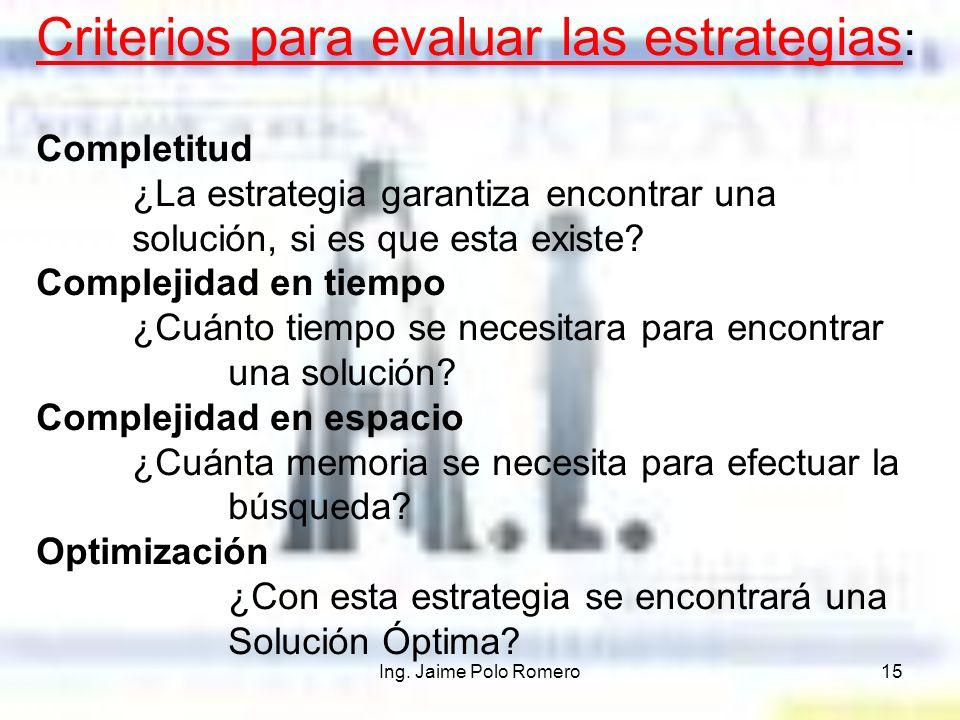 Ing. Jaime Polo Romero15 Criterios para evaluar las estrategias : Completitud ¿La estrategia garantiza encontrar una solución, si es que esta existe?