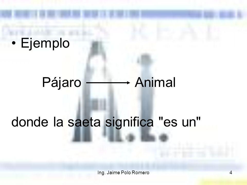 Ing. Jaime Polo Romero4 Ejemplo Pájaro Animal donde la saeta significa