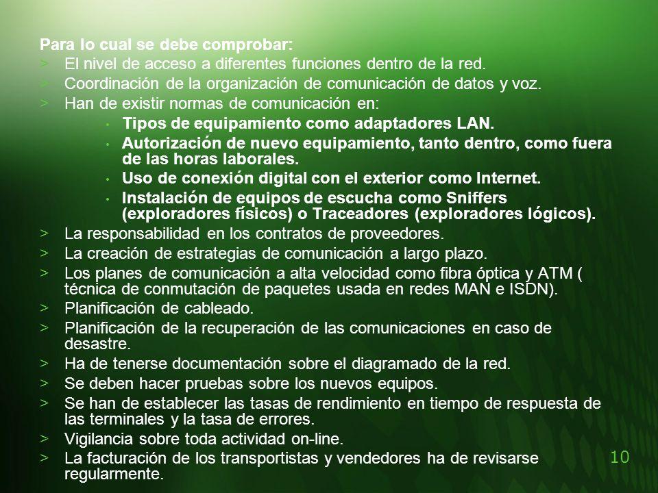 10 Para lo cual se debe comprobar: >El nivel de acceso a diferentes funciones dentro de la red. >Coordinación de la organización de comunicación de da