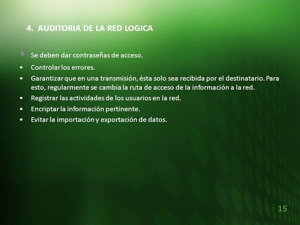 15 4. AUDITORIA DE LA RED LOGICA Se deben dar contraseñas de acceso. Controlar los errores. Garantizar que en una transmisión, ésta solo sea recibida