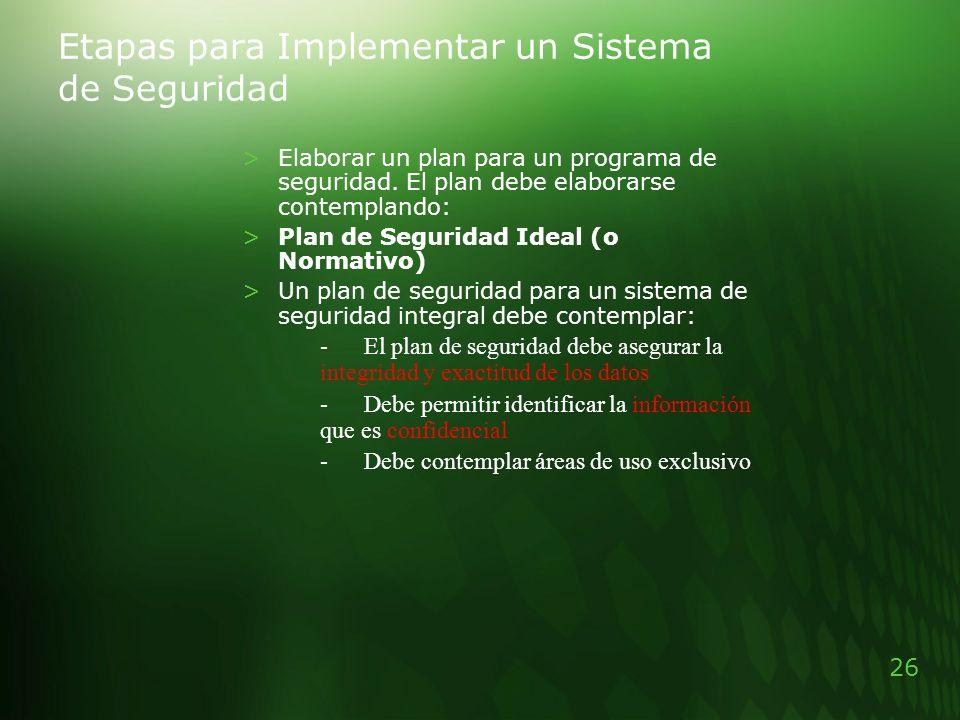 26 Etapas para Implementar un Sistema de Seguridad >Elaborar un plan para un programa de seguridad. El plan debe elaborarse contemplando: >Plan de Seg