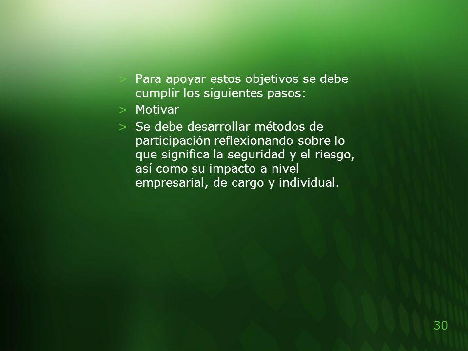 30 >Para apoyar estos objetivos se debe cumplir los siguientes pasos: >Motivar >Se debe desarrollar métodos de participación reflexionando sobre lo qu