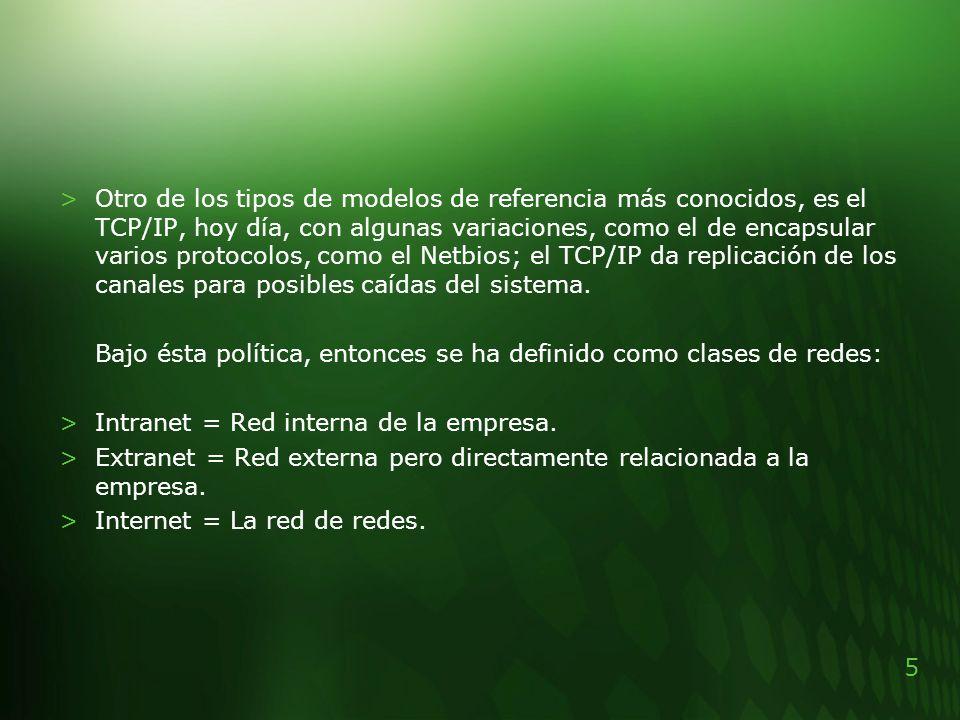 5 >Otro de los tipos de modelos de referencia más conocidos, es el TCP/IP, hoy día, con algunas variaciones, como el de encapsular varios protocolos,