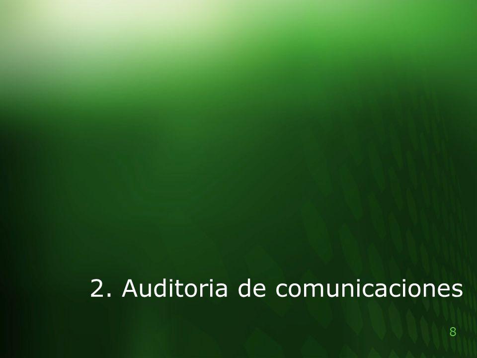 9 2.Auditoria de comunicaciones: Ha de verse: >La gestión de red = los equipos y su conectividad.