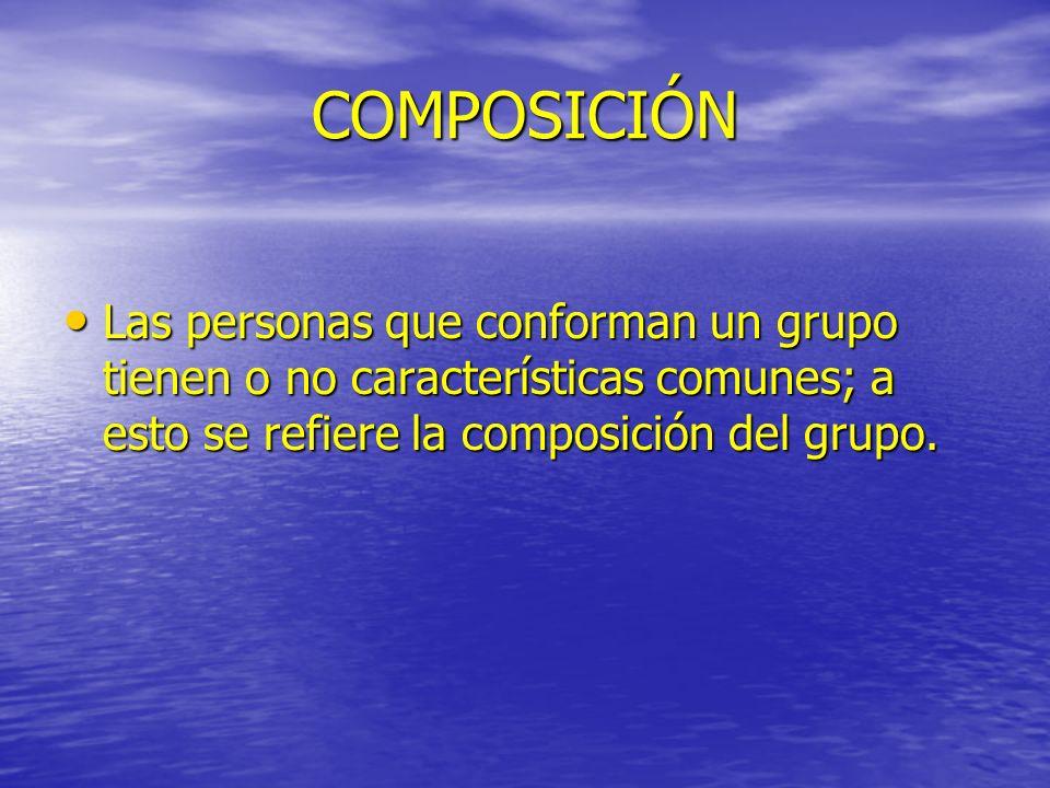 COMPOSICIÓN Las personas que conforman un grupo tienen o no características comunes; a esto se refiere la composición del grupo. Las personas que conf