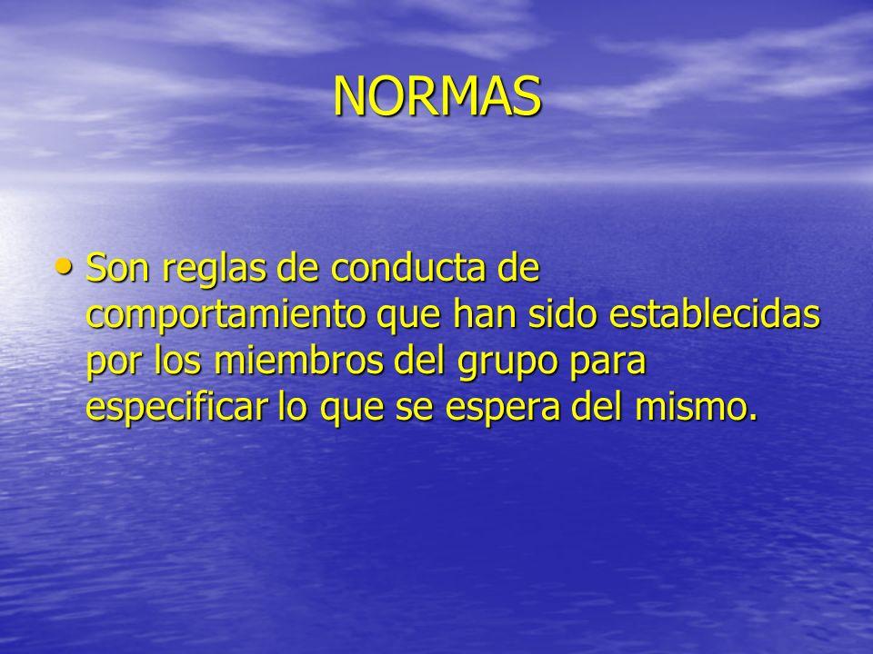 NORMAS Son reglas de conducta de comportamiento que han sido establecidas por los miembros del grupo para especificar lo que se espera del mismo. Son
