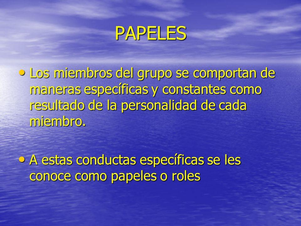 PAPELES Los miembros del grupo se comportan de maneras específicas y constantes como resultado de la personalidad de cada miembro. Los miembros del gr