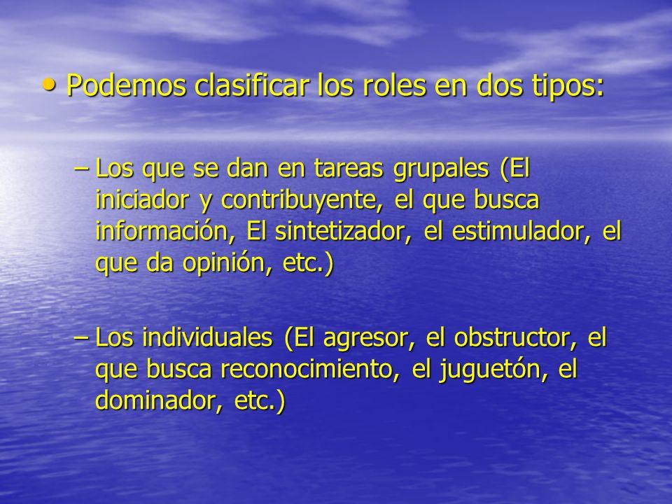 Podemos clasificar los roles en dos tipos: Podemos clasificar los roles en dos tipos: –Los que se dan en tareas grupales (El iniciador y contribuyente