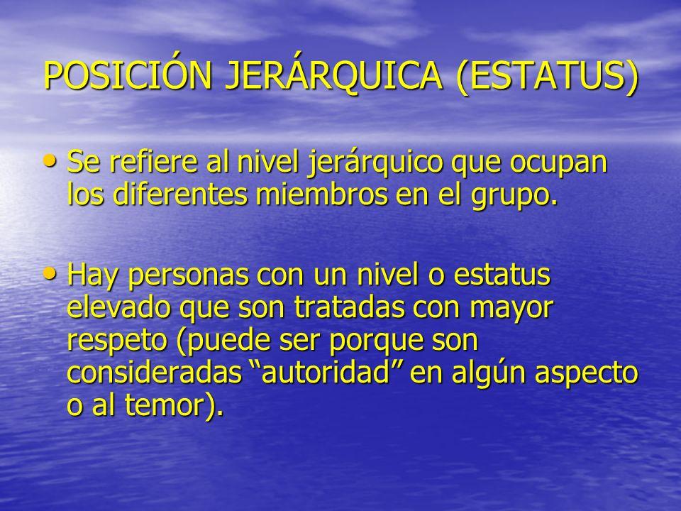 POSICIÓN JERÁRQUICA (ESTATUS) Se refiere al nivel jerárquico que ocupan los diferentes miembros en el grupo. Se refiere al nivel jerárquico que ocupan