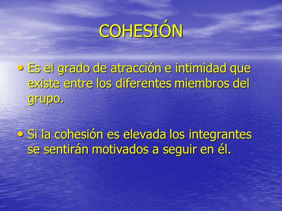 COHESIÓN Es el grado de atracción e intimidad que existe entre los diferentes miembros del grupo. Es el grado de atracción e intimidad que existe entr