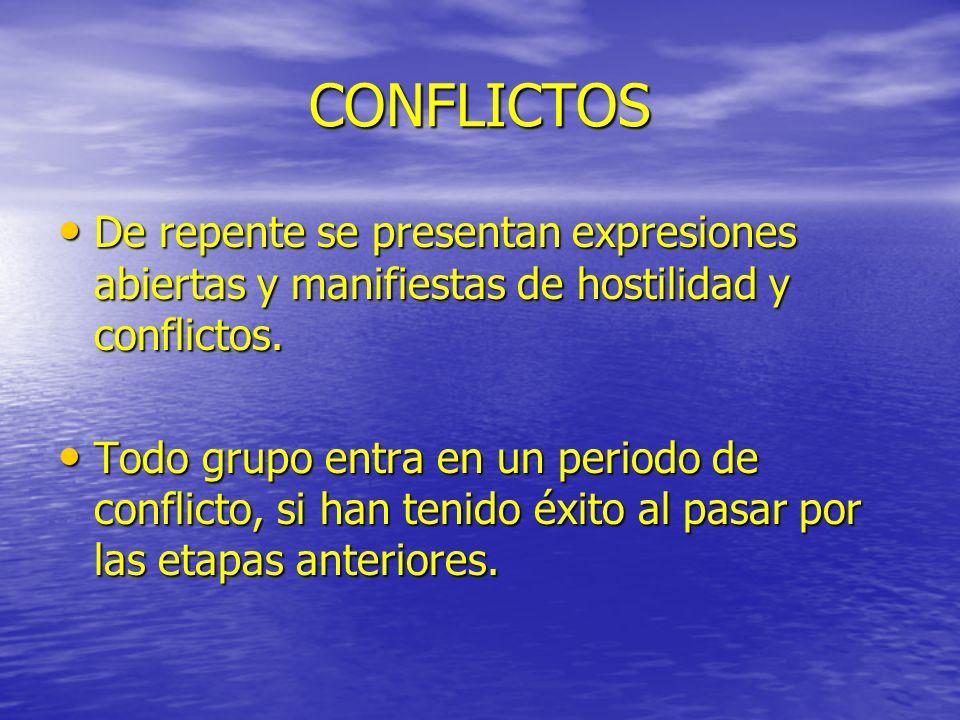 CONFLICTOS De repente se presentan expresiones abiertas y manifiestas de hostilidad y conflictos. De repente se presentan expresiones abiertas y manif